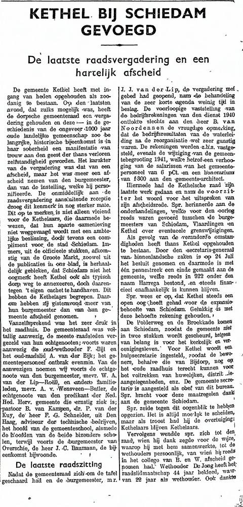 Schiedamsche Courant aug.1941 Laatste raadsvergadering